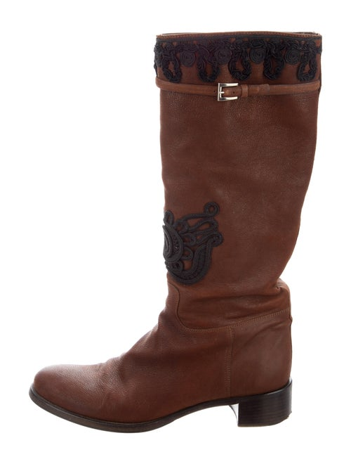 Prada Leather Patterned Boots Brown