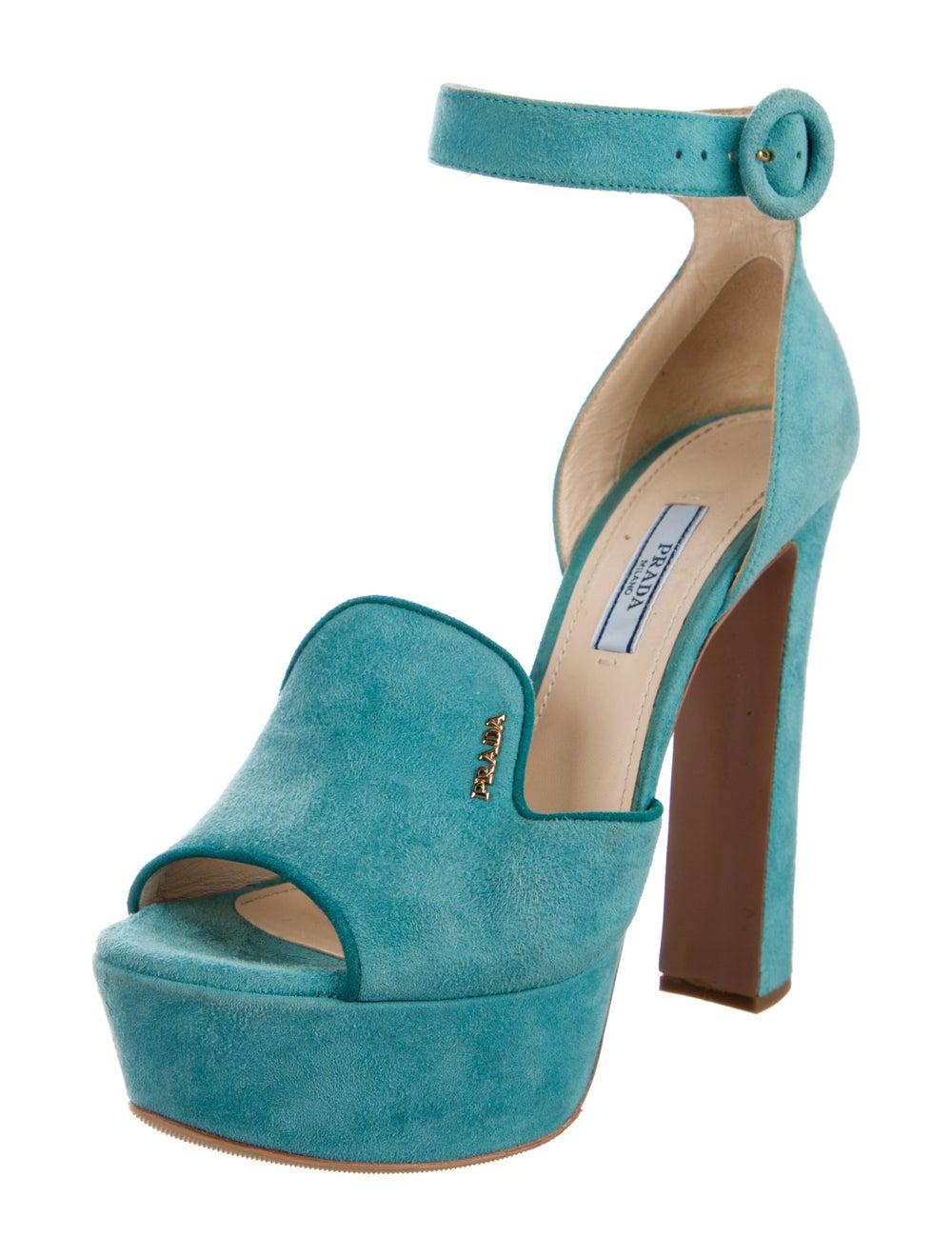 Prada Suede Sandals Blue - image 2