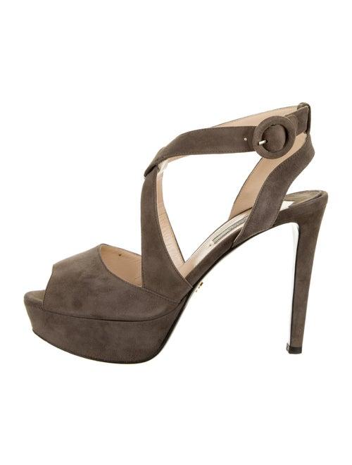 Prada Suede Sandals Grey - image 1