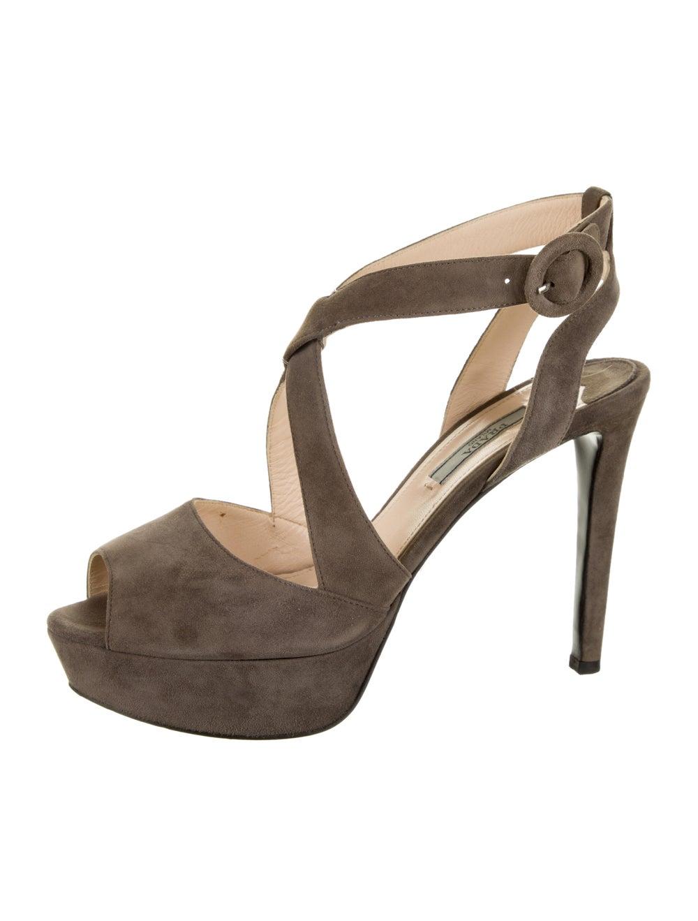 Prada Suede Sandals Grey - image 2