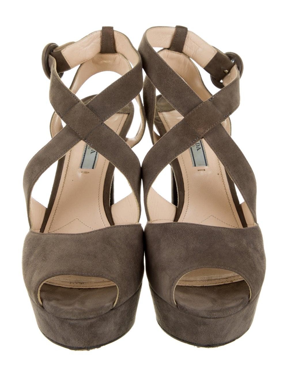 Prada Suede Sandals Grey - image 3