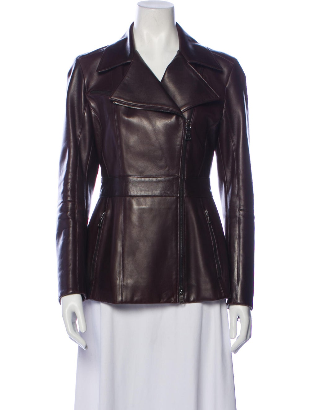 Prada Leather Biker Jacket Brown - image 1
