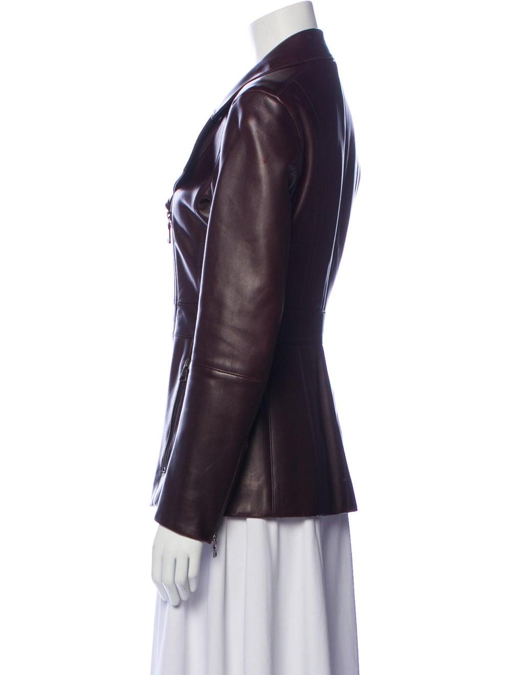 Prada Leather Biker Jacket Brown - image 2