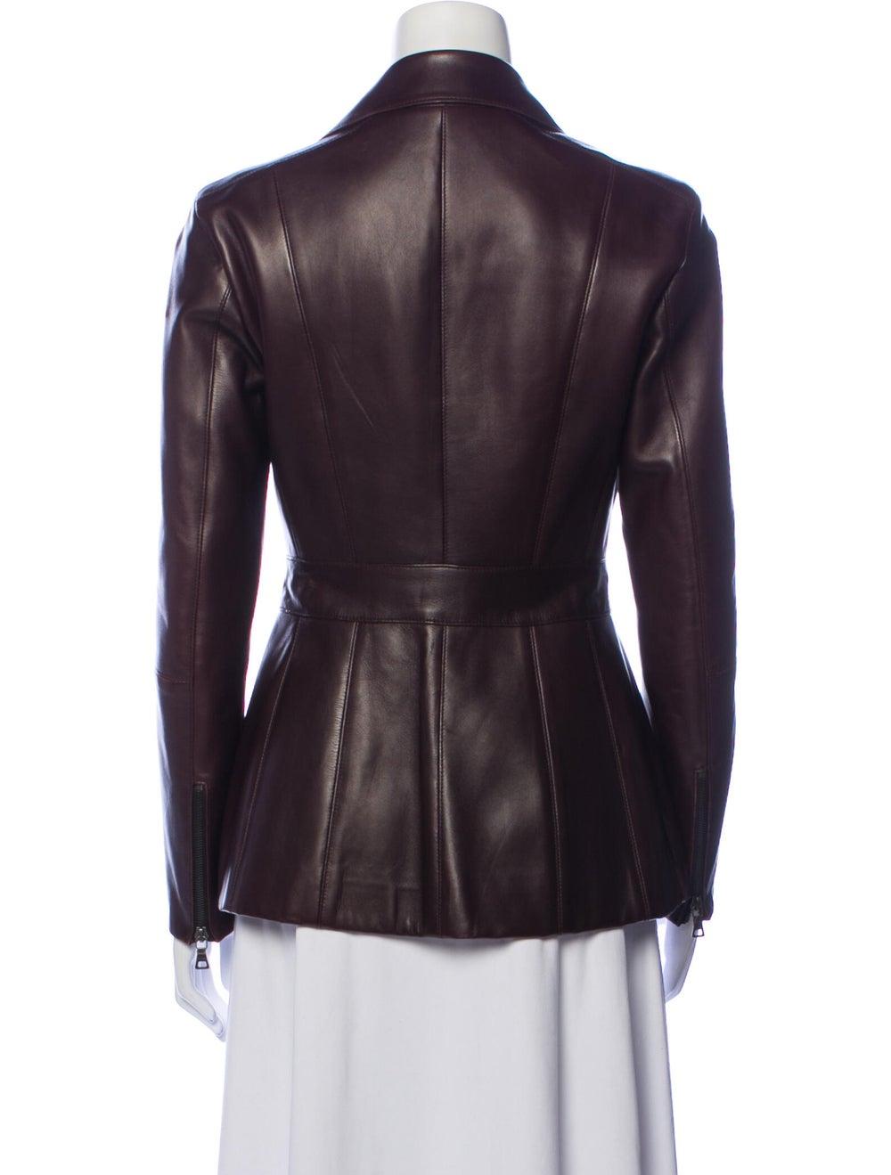 Prada Leather Biker Jacket Brown - image 3