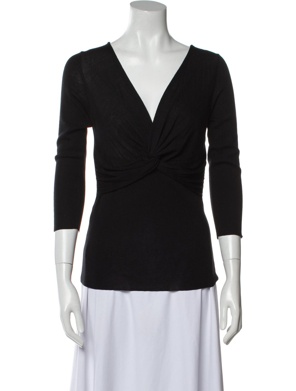 Prada Wool V-Neck Top Wool - image 1