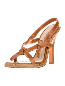 Prada Leather Bow Accents Slingback Sandals
