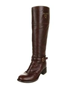 Prada Leather Animal Print Riding Boots
