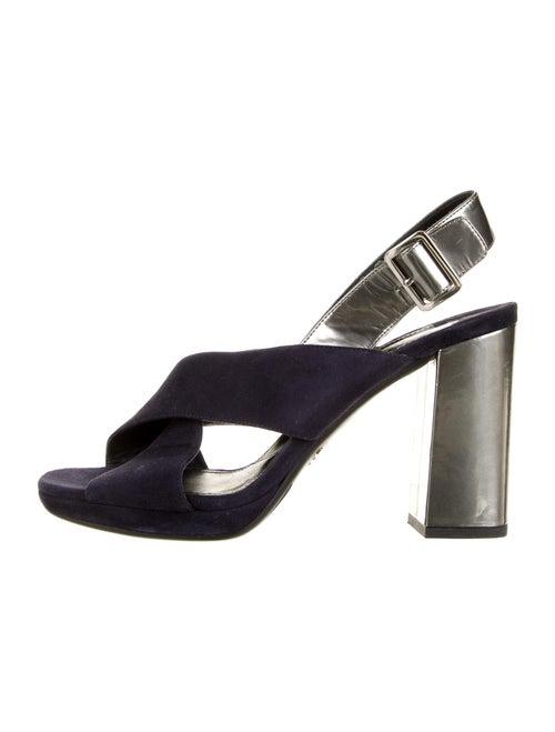 Prada Suede Slingback Sandals Blue - image 1