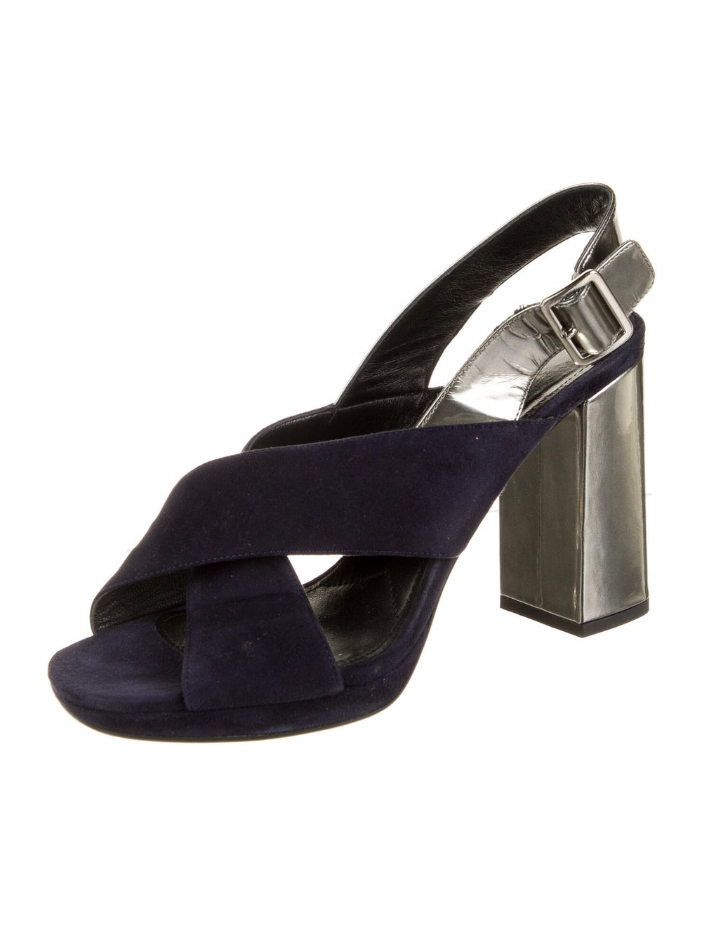 Prada Suede Slingback Sandals Blue - image 2