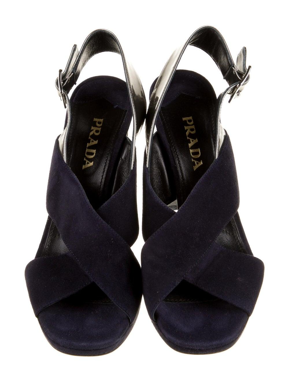 Prada Suede Slingback Sandals Blue - image 3