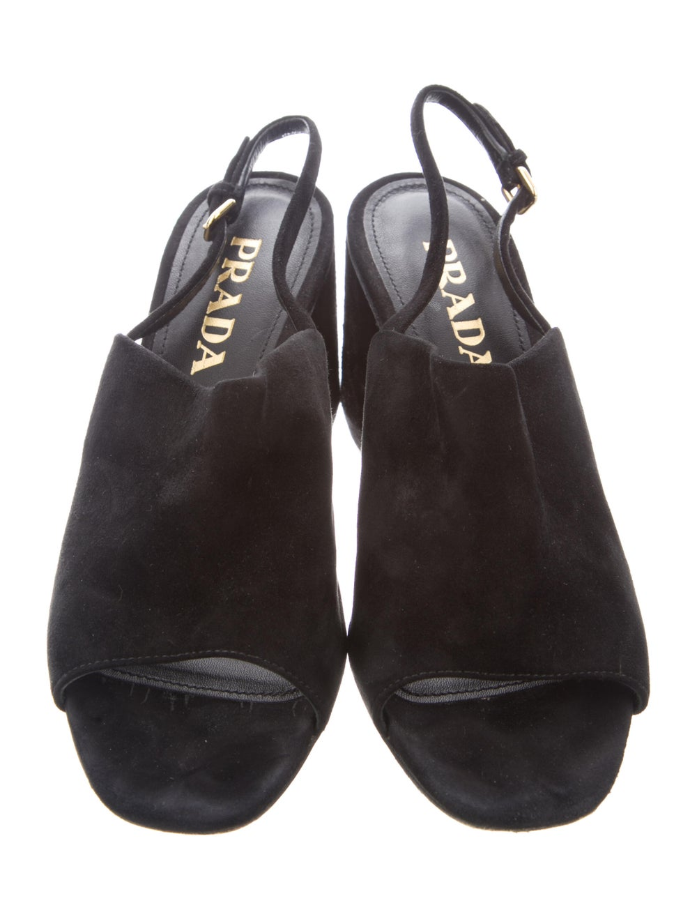 Prada Suede Slingback Sandals Black - image 3