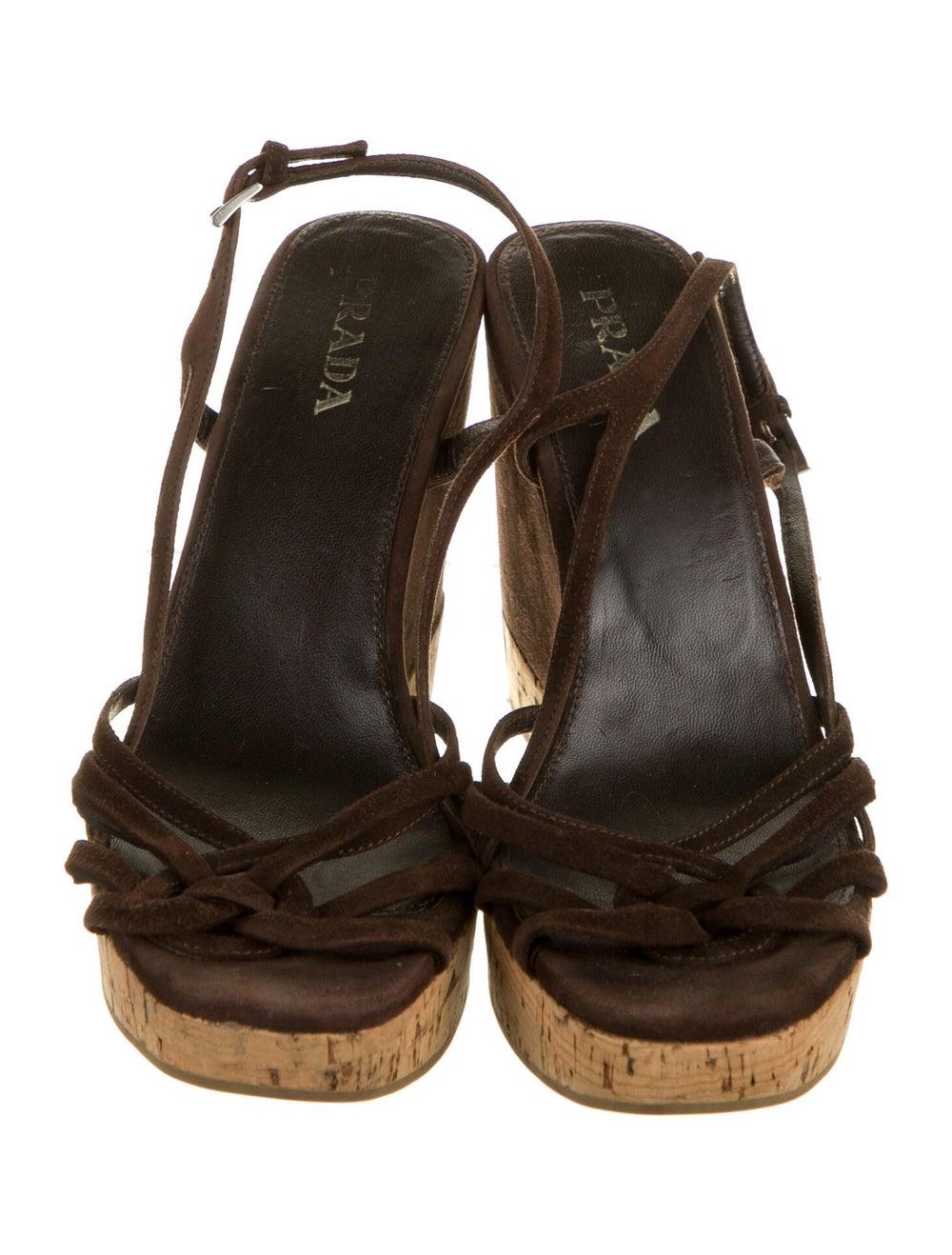 Prada Suede Slingback Sandals Brown - image 3