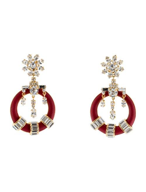 Prada Crystal & Leather Drop Earrings Gold