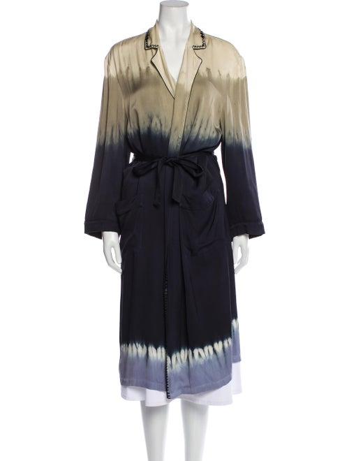 Prada Silk Beaded Accents Robe Blue