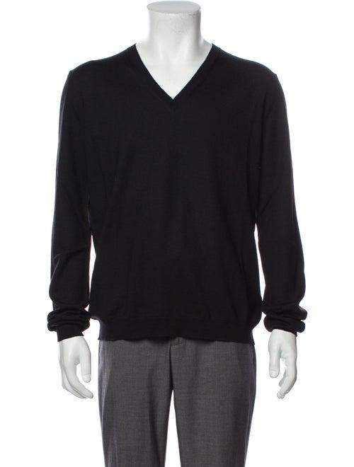 Prada Virgin Wool V-Neck Pullover Wool