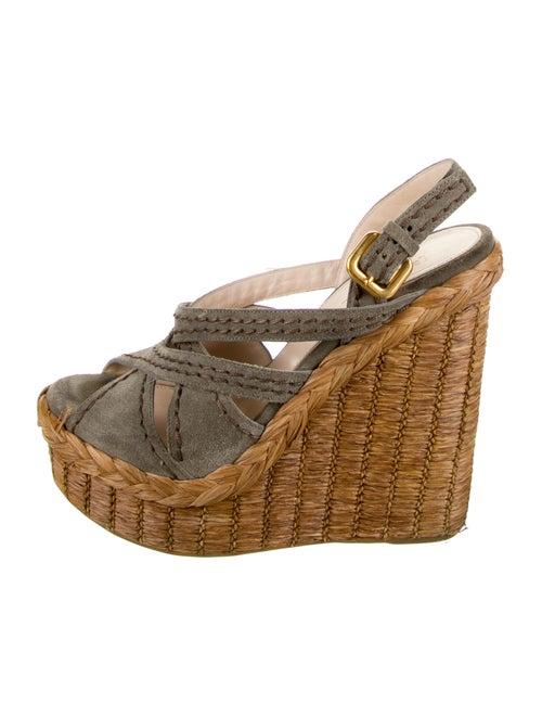 Prada Suede Slingback Sandals Grey