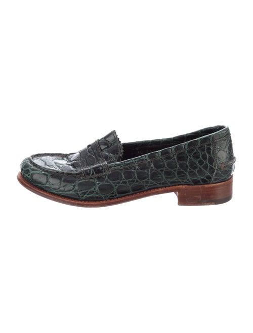 Prada Alligator Animal Print Loafers Green