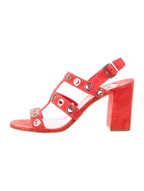 Prada Suede Eyelet Trim Slingback Sandals Red