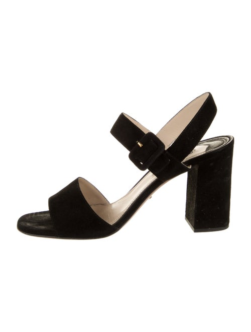 Prada Suede Slingback Sandals Black