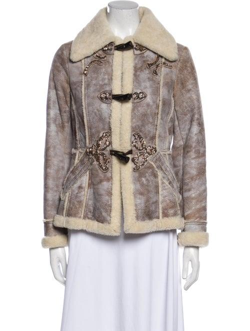 Prada Colorblock Pattern Faux Fur Coat Brown