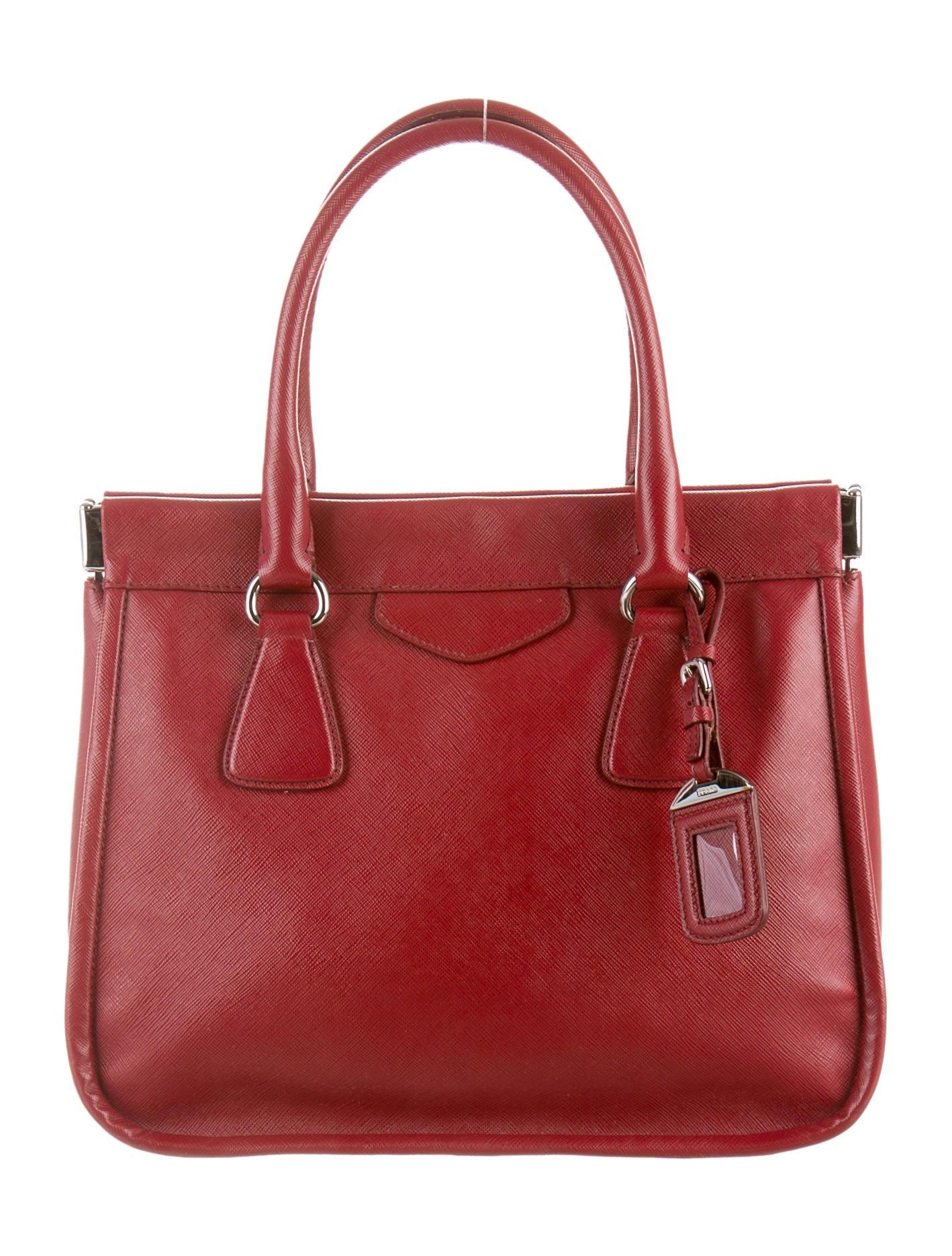 prada saffiano tote handbags pra70561 the realreal
