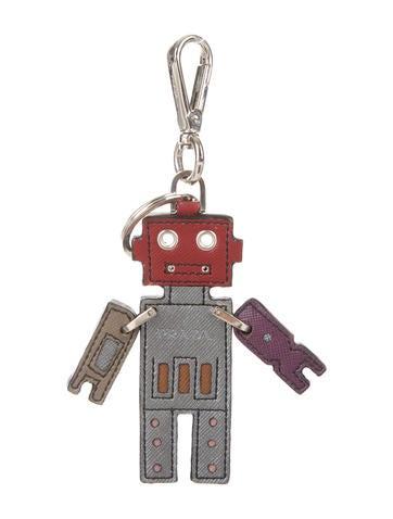 Saffiano Robot Trick Keychain