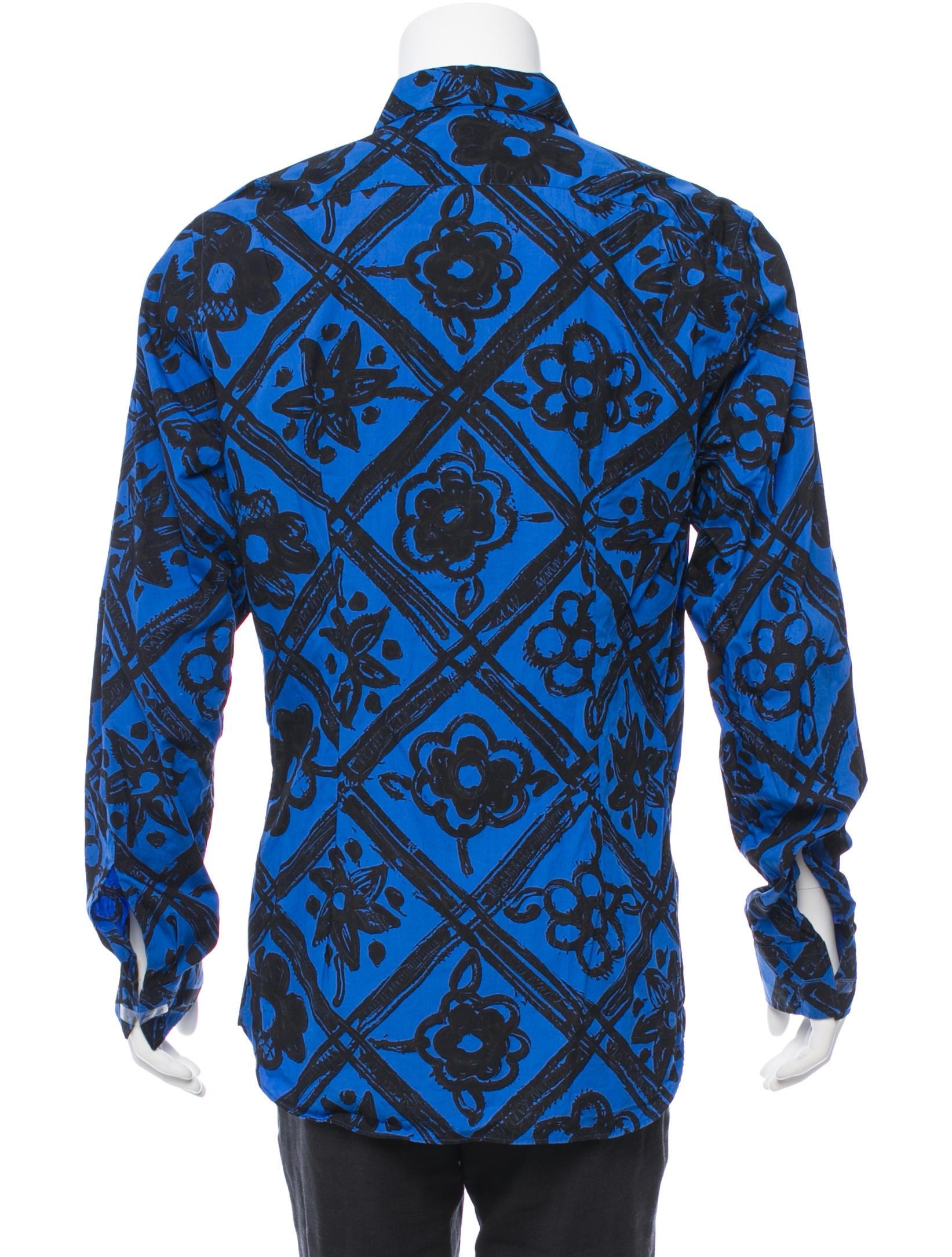 Prada floral print button up shirt clothing pra80928 for Floral print button up shirt