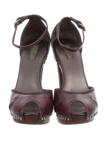 Leather Peep-Toe Clogs