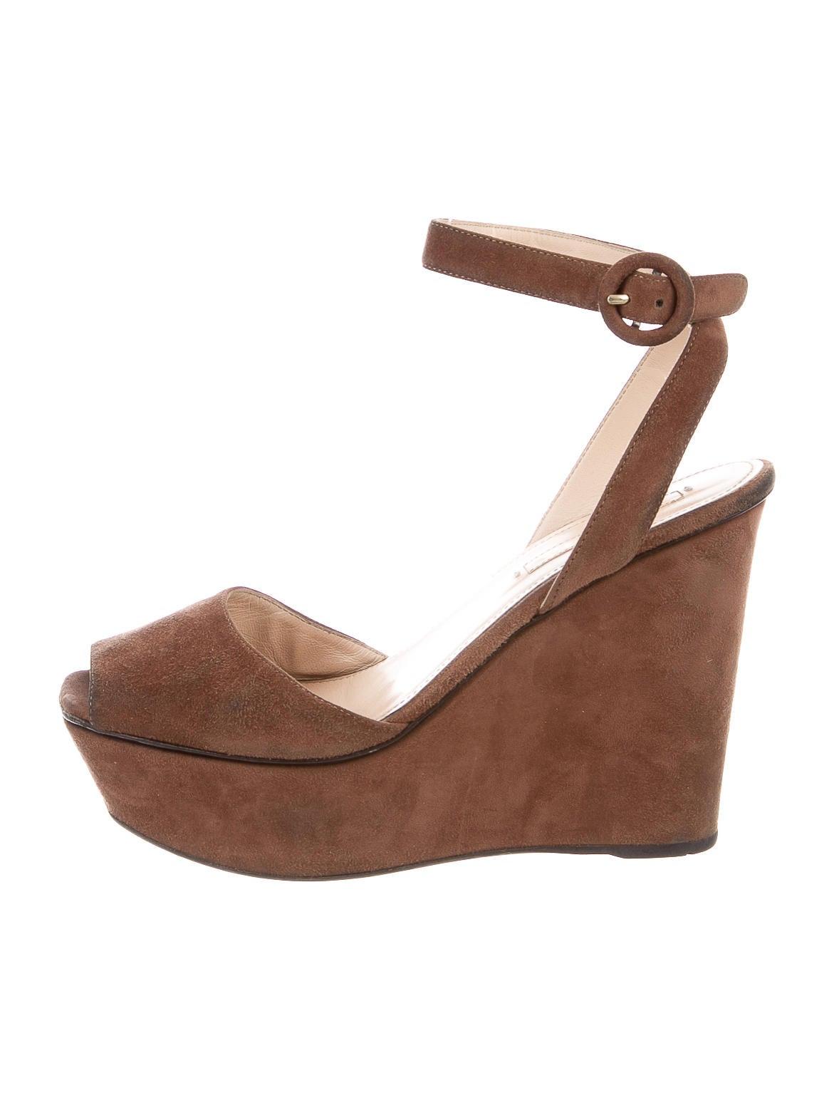 prada suede platform wedges shoes pra83406 the realreal