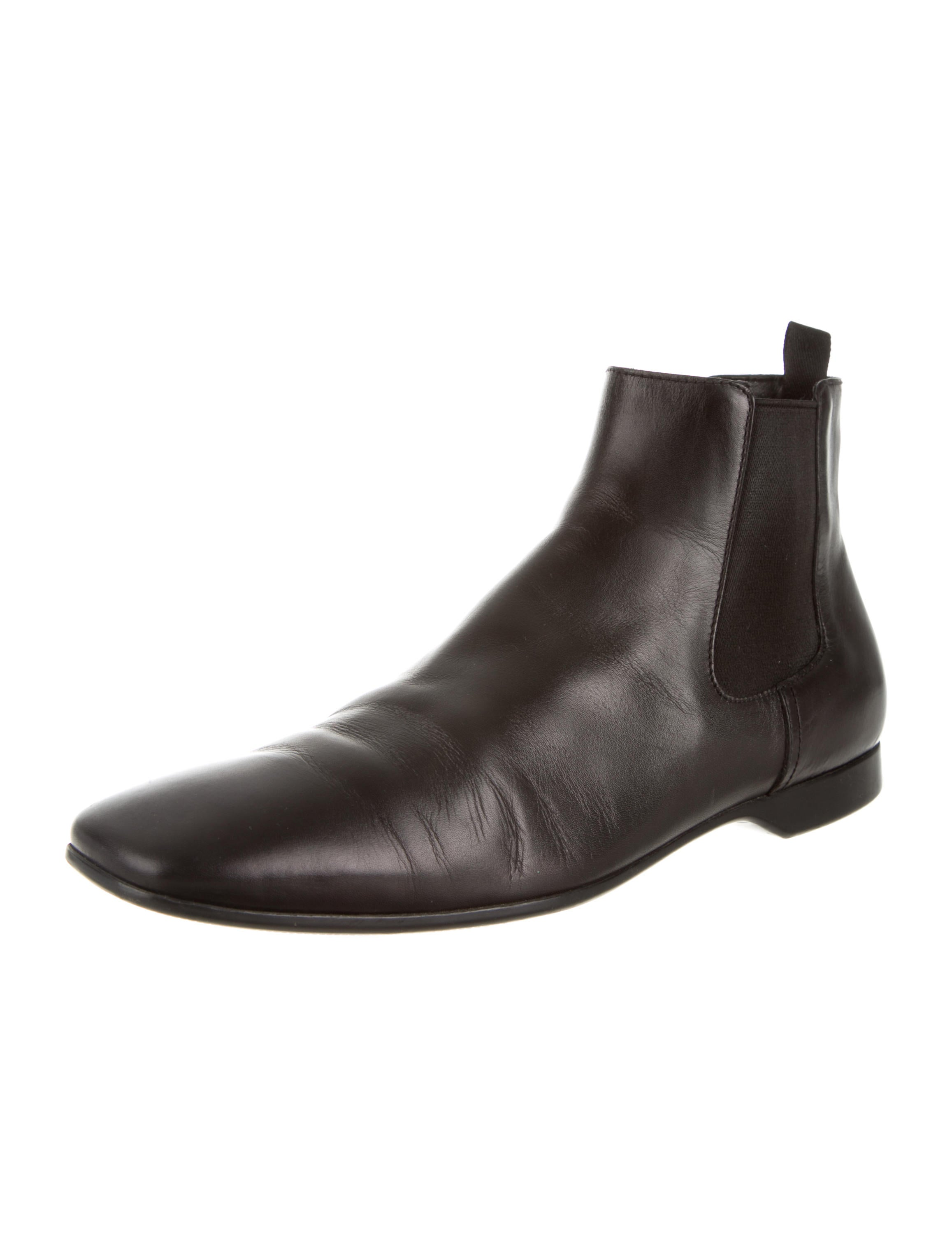 prada leather chelsea boots shoes pra83485 the realreal