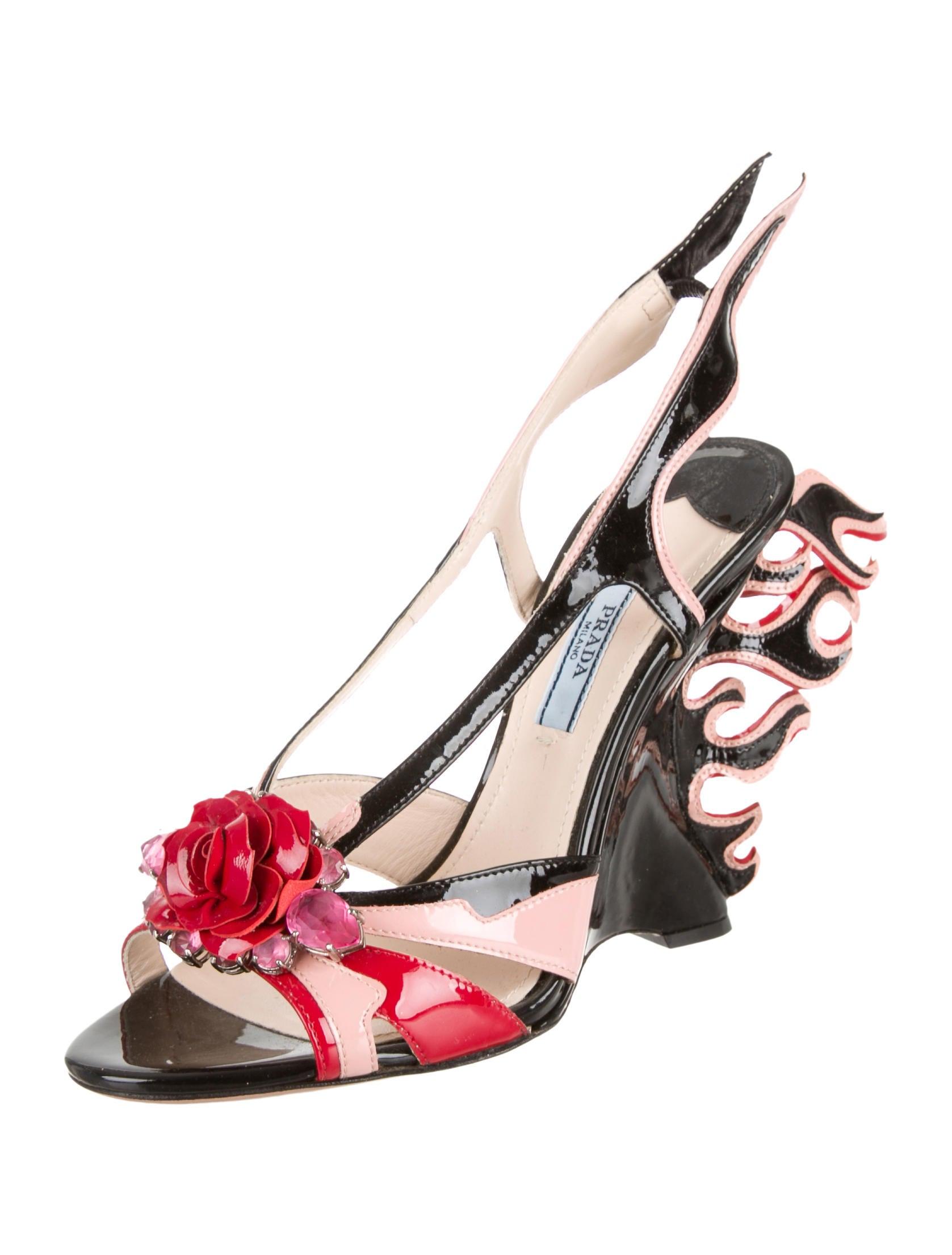 Prada Flame Wedge Sandals I4M2PxHFn4