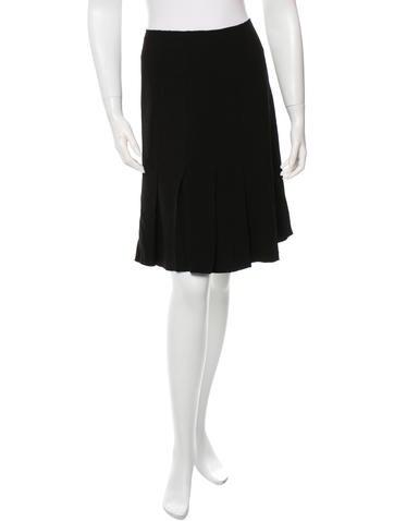 Prada Pleated-Accented Knee-Length Skirt