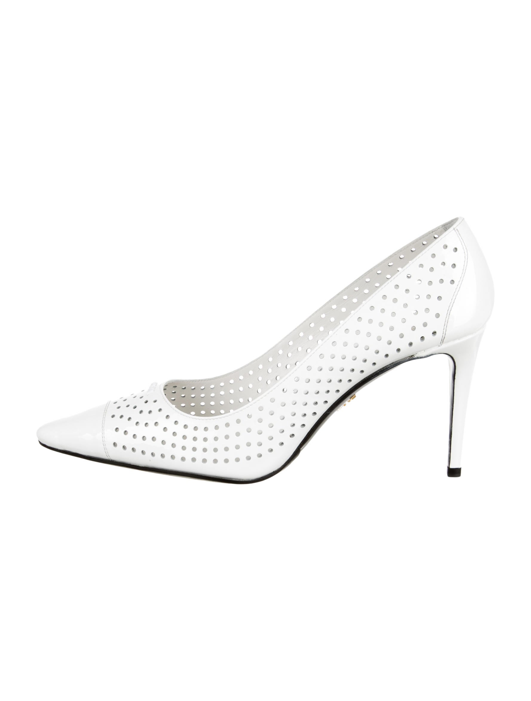 Prada Perforated Peep-Toe Pumps w/ Tags latest collections cheap online big sale online discount sale ZpHMI5Q3