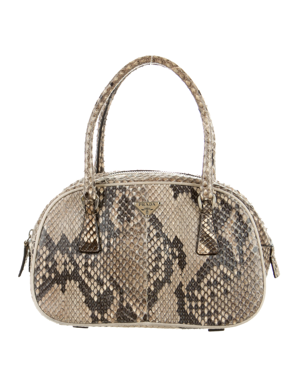 1fb0c684fb9a Prada Mini Python Bauletto Bag - Handbags - PRA94577   The RealReal
