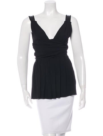 Prada Pleated Sleeveless Top None