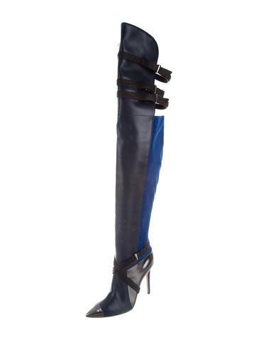 prabal gurung snakeskin trimmed thigh high boots shoes