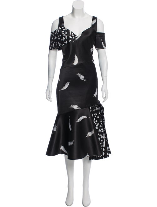 Prabal Gurung Feather Print Midi Dress Black