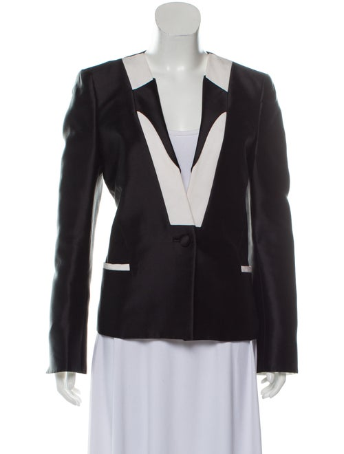 Prabal Gurung Wool-Blend Collarless Blazer Black