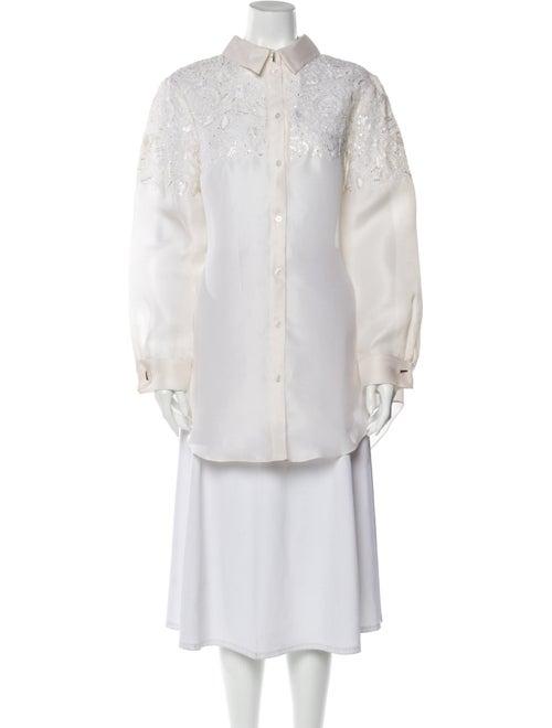 Prabal Gurung Silk Floral Print Button-Up Top w/ T