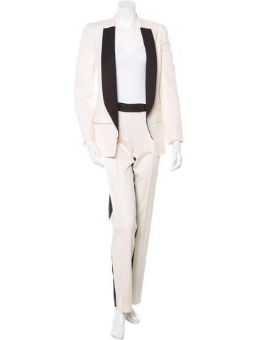 Colorblock Wool Pant Suit