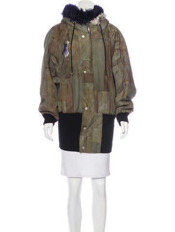 Preen Faux Fur-Accented Zip-Front Jacket None