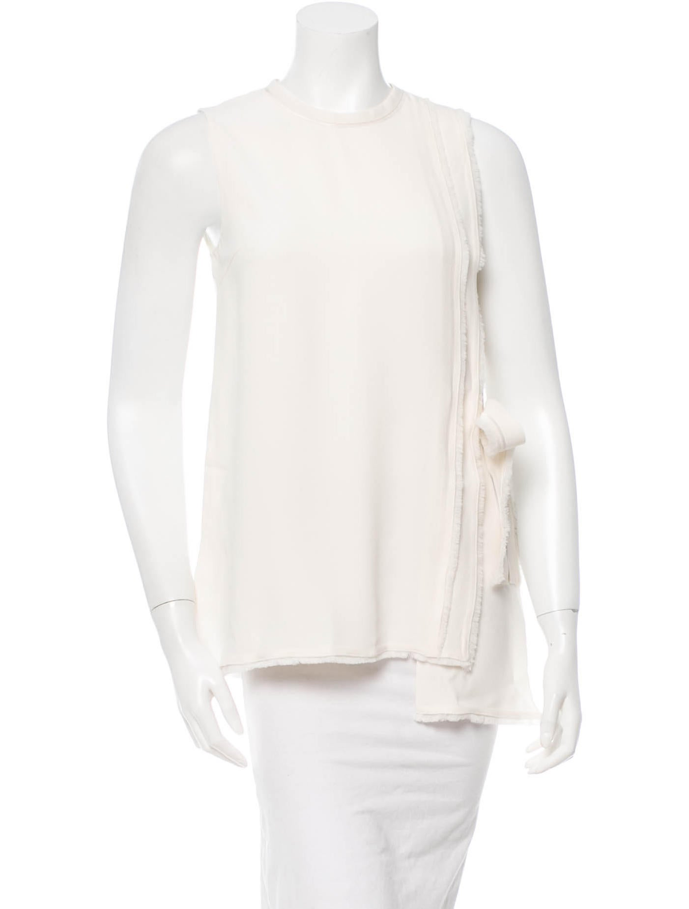 White Side Tie Blouse 56