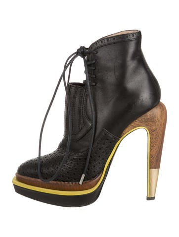 Perforated Platform Ankle Boots