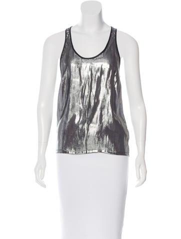 Proenza Schouler Silk-Blend Metallic Top None