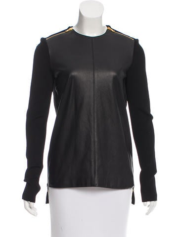 Proenza Schouler Leather-Accented Knit Top None