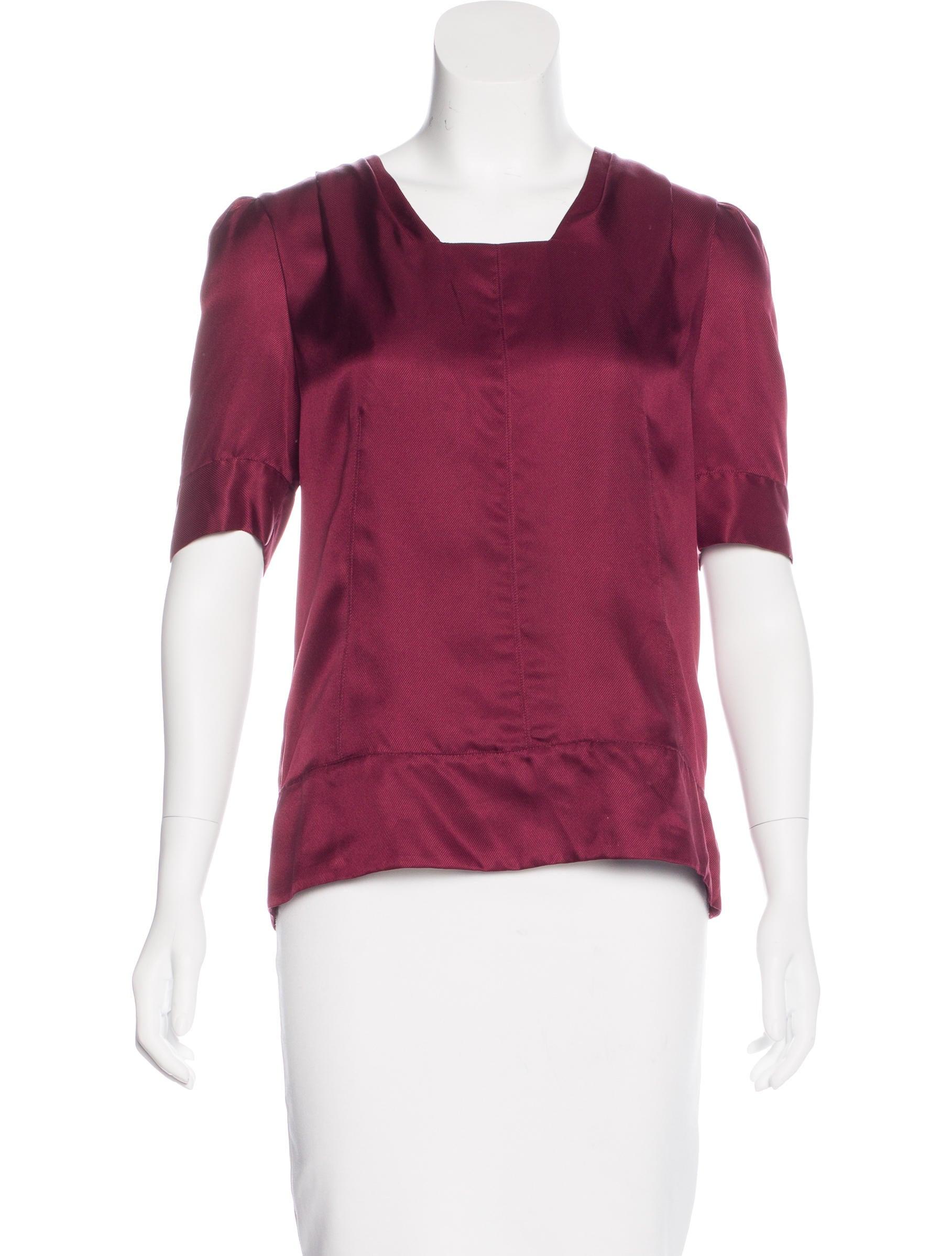 Proenza Schouler Silk Short Sleeve Top