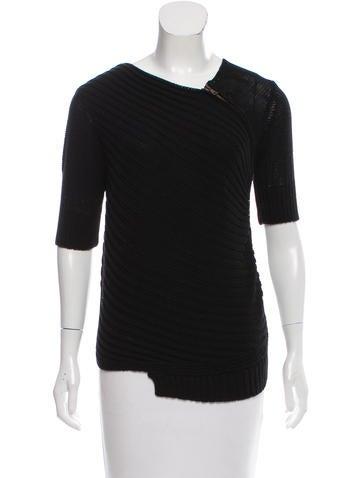 Proenza Schouler Zip-Accented Short Sleeve Sweater None