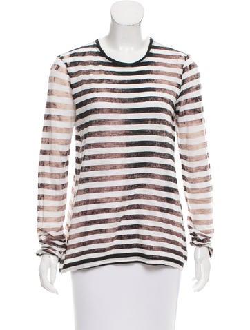 Proenza Schouler Striped Long Sleeve Top None