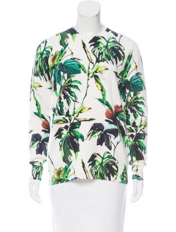Proenza Schouler Tropical Print Wool-Blend Sweater None