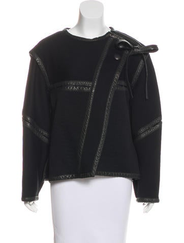 Proenza Schouler Leather-Accented Rib Knit Jacket None